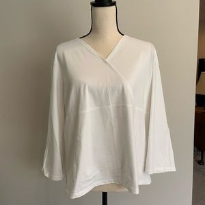 J.Jill: White Wrapped Long Sleeve Shirt